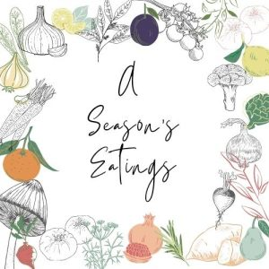 Vector art image of various seasonal vegetables. With a text in the middle of the image that reads 'a seasons eating'.